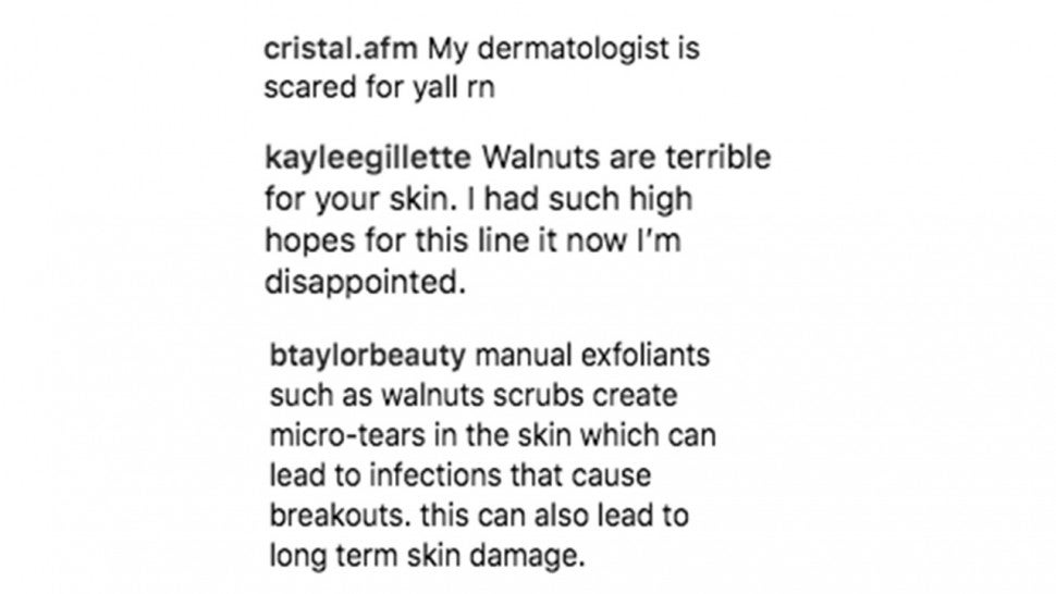 comments on kylie skin