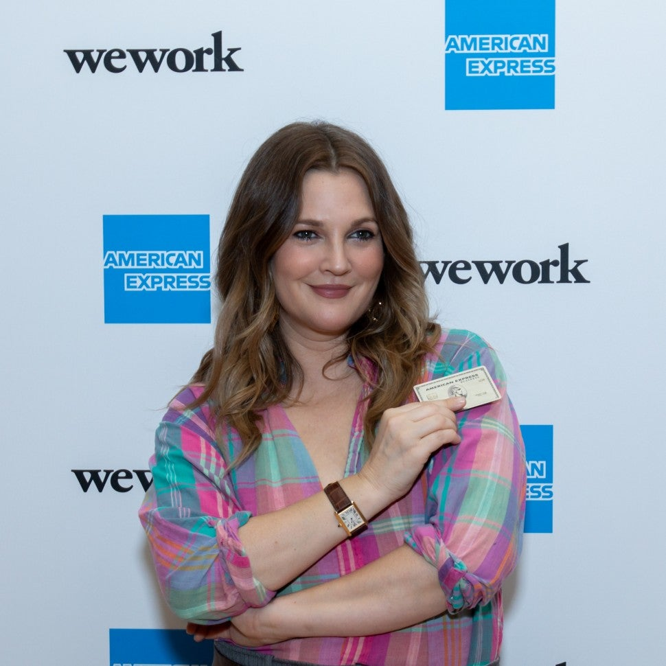Drew Barrymore with amex