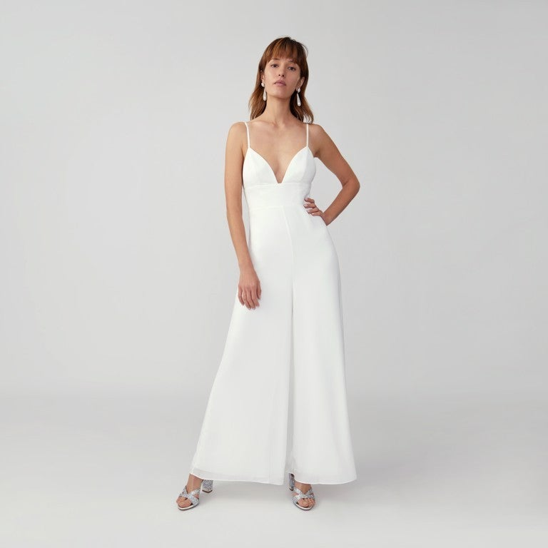 Fame and Partners bust cup white jumpsuit