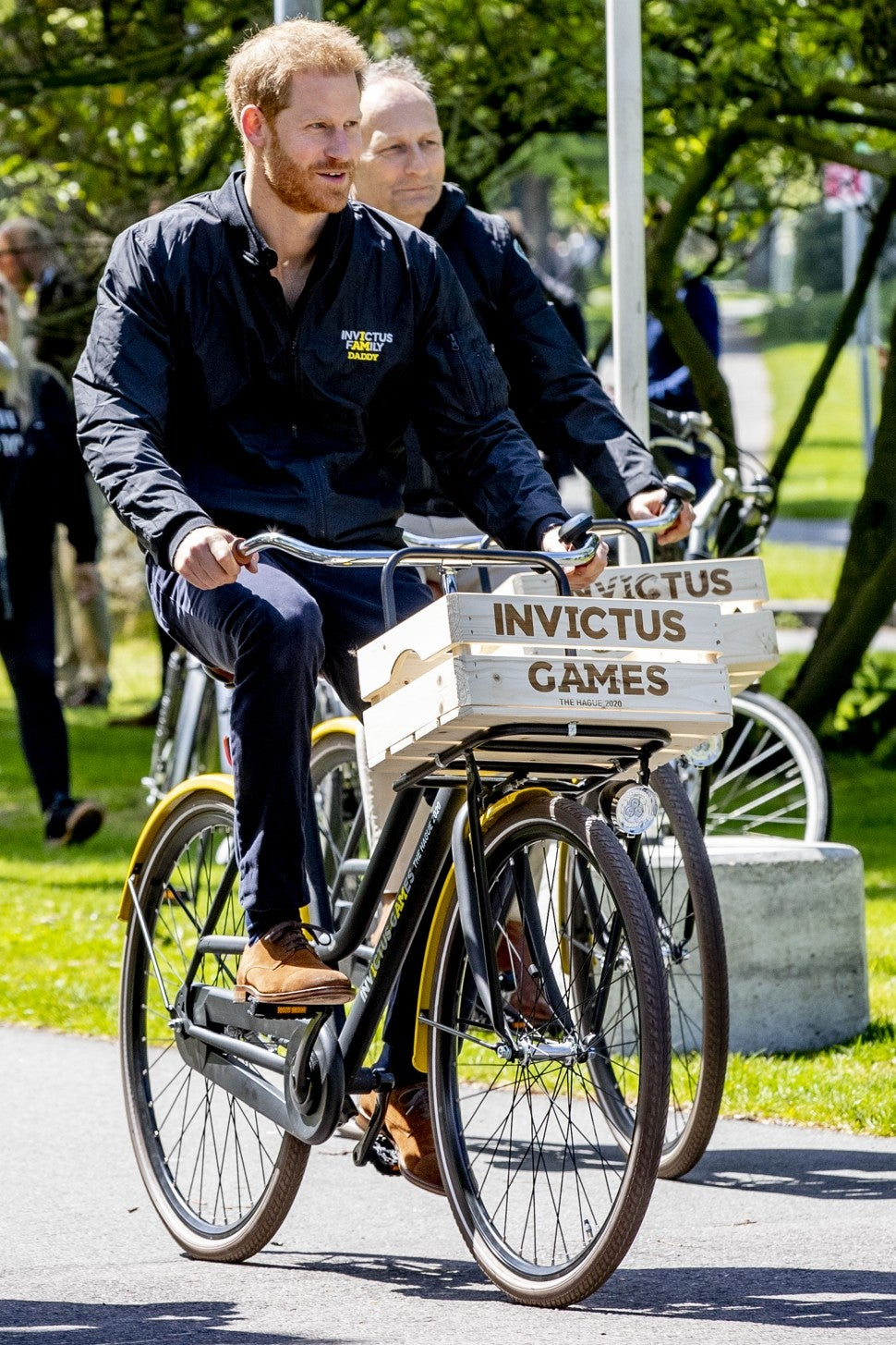 Prince Harry, Duke of Sussex rides a bicycle during the launch of the Invictus Games on May 9, 2019 in The Hague, Netherlands.