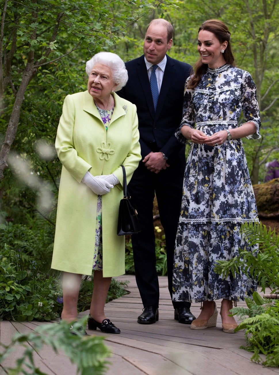 Kate Middleton, Queen Elizabeth II and Prince William at the 'Back to Nature Garden' that Middleton designed along with Andree Davies and Adam White, during their visit to the 2019 RHS Chelsea Flower Show in London on May 20, 2019.