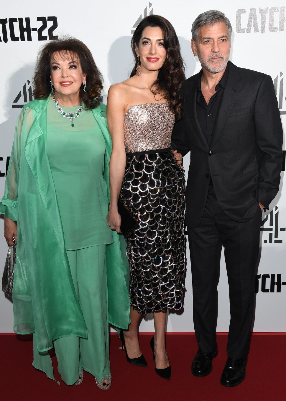 Baria Alamuddin, Amal Clooney and George Clooney Catch 22 UK Premiere