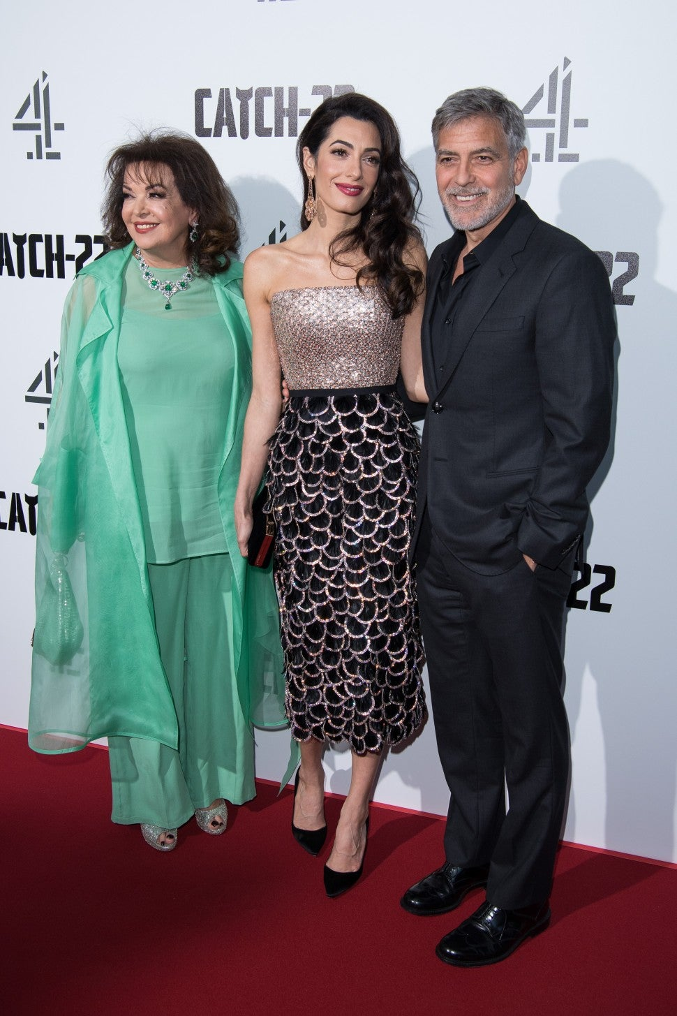 Baria Alamuddin, Amal Clooney and George Clooney Catch 22 London Premiere