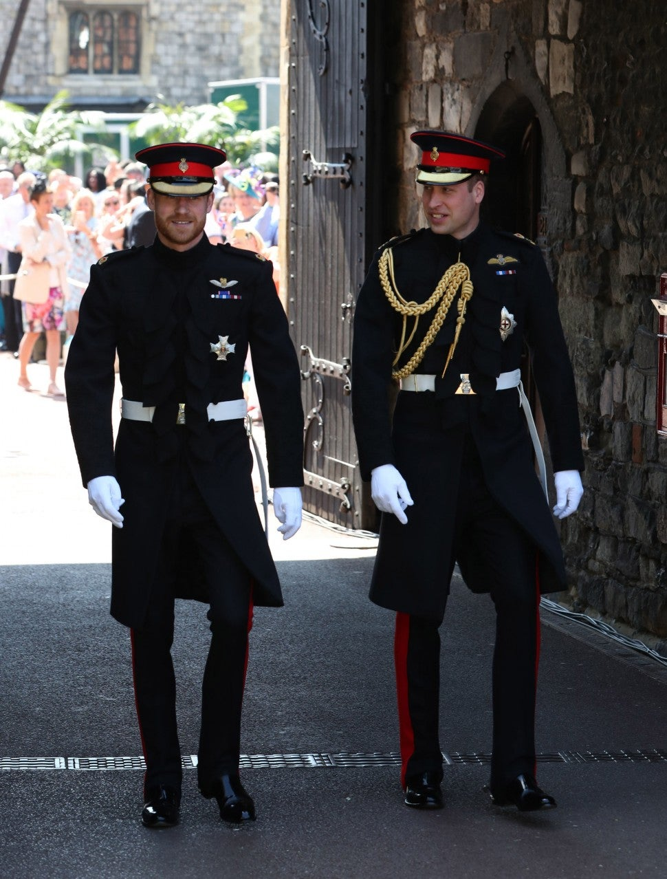 Prince Harry, Duke of Sussex, arrives with his best man Prince William, Duke of Cambridge, at St George's Chapel, Windsor Castle, in Windsor, on May 19, 2018 for his wedding ceremony to marry US actress Meghan Markle.