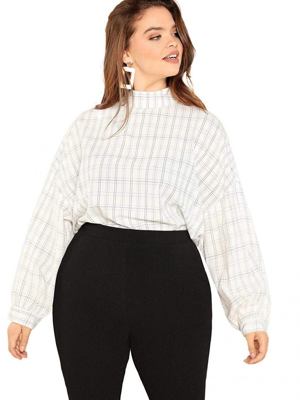Romwe plus size plaid blouse