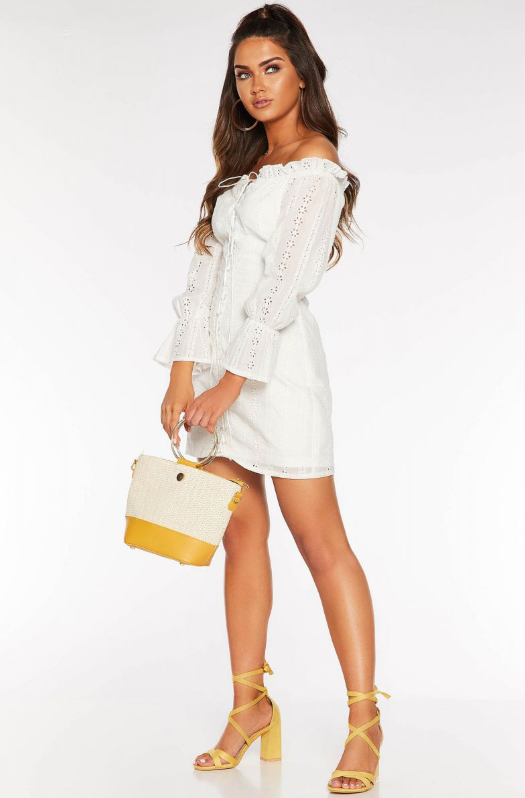 Quiz Clothing lace-up off-the-shoulder white dress