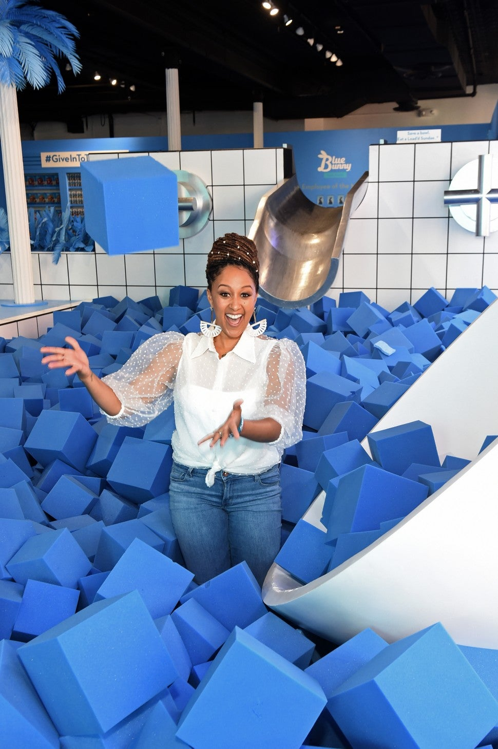 Tamera Mowry with blue bunny