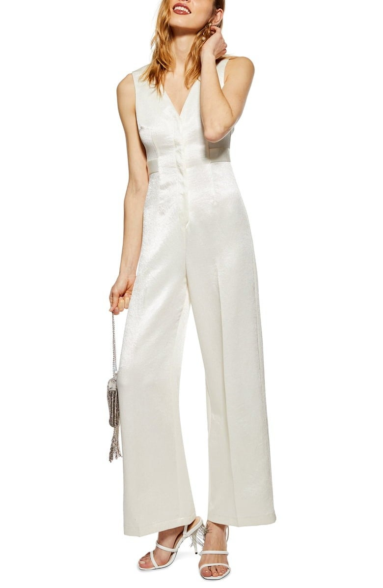 Topshop satin twill white jumpsuit