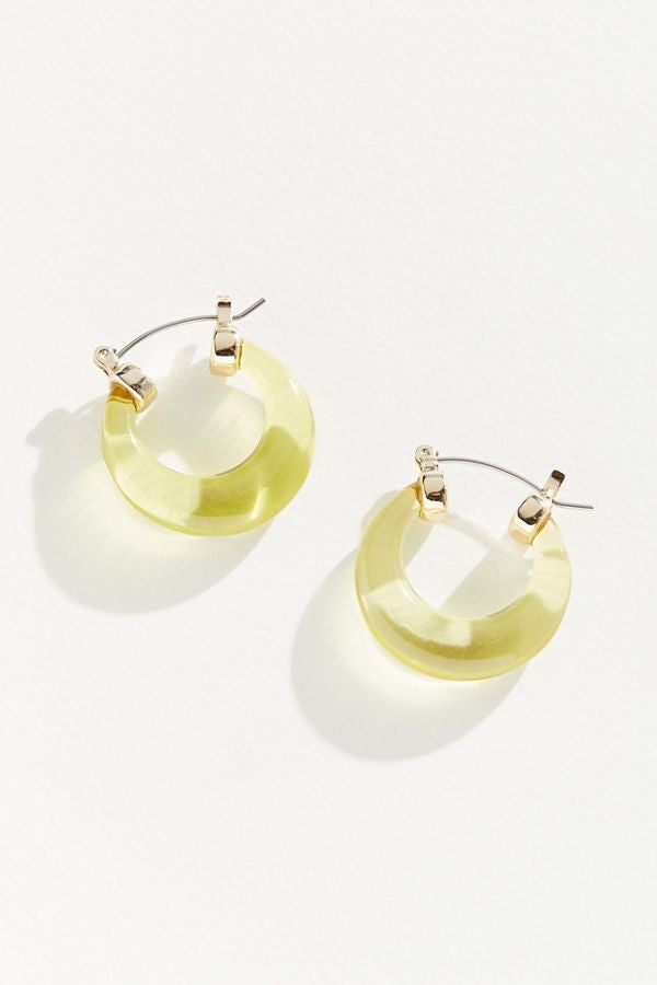 Urban Outfitters lime lucite hoop earrings