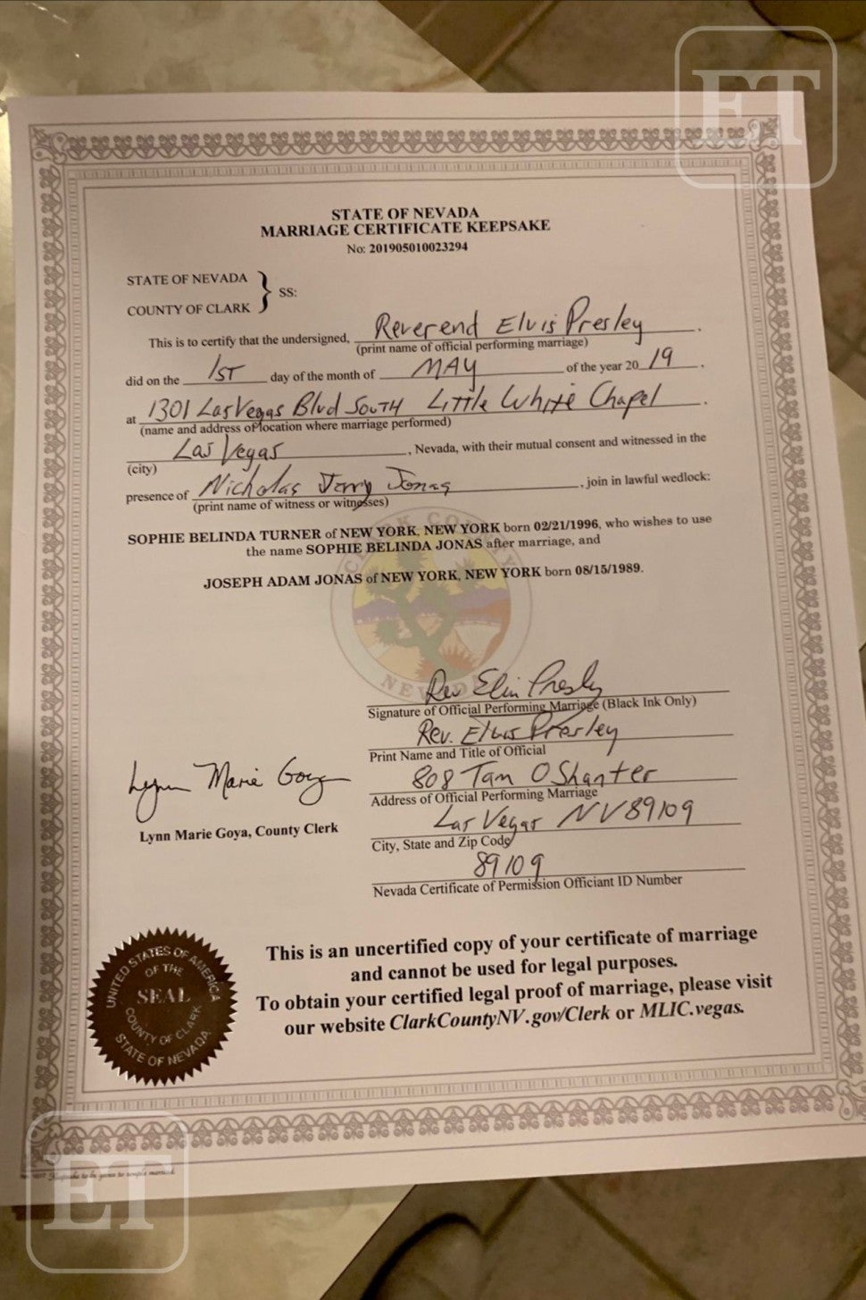 Sophie Turner Joe Jonas Marriage Certificate