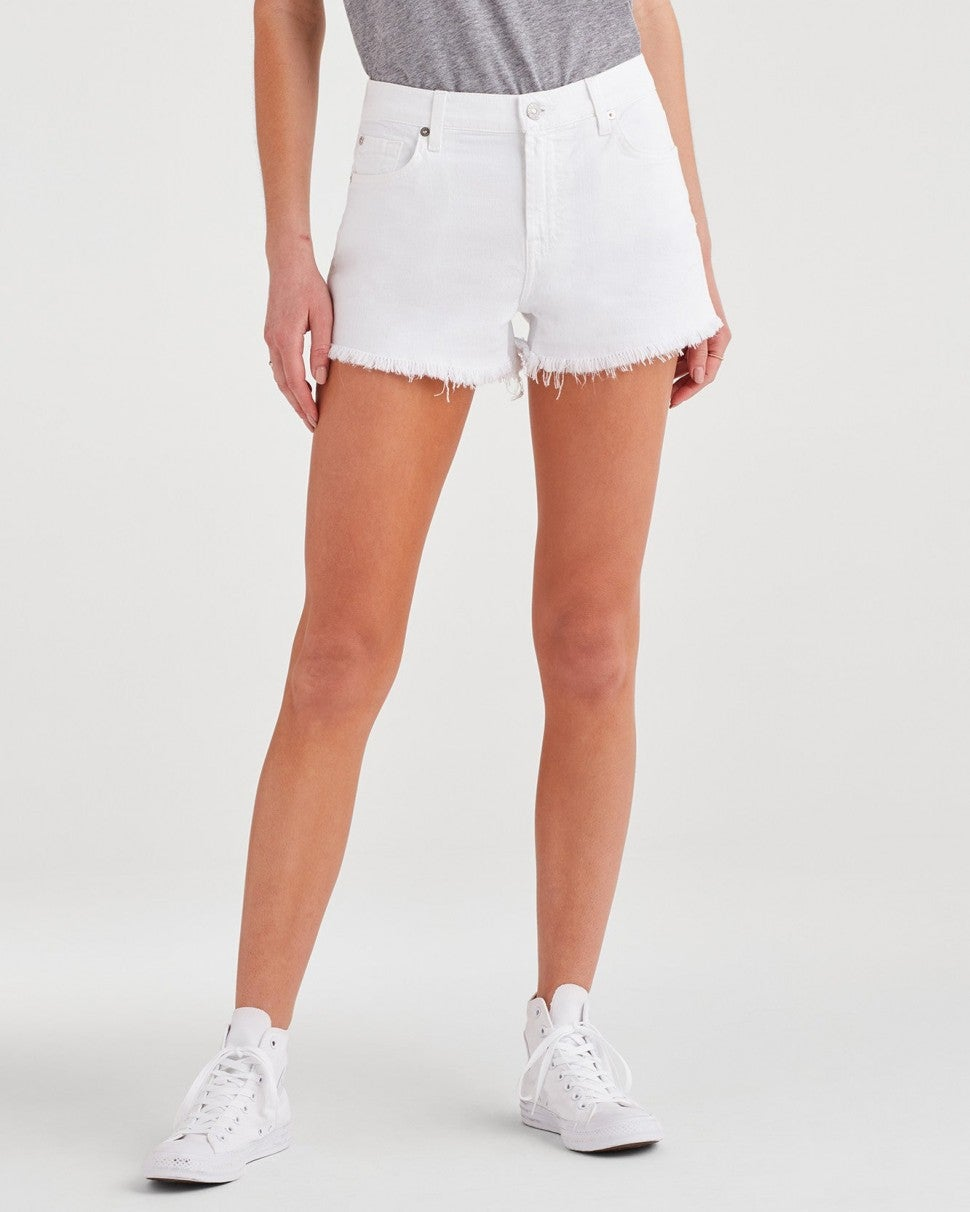 7 For All Mankind white denim cut off shorts