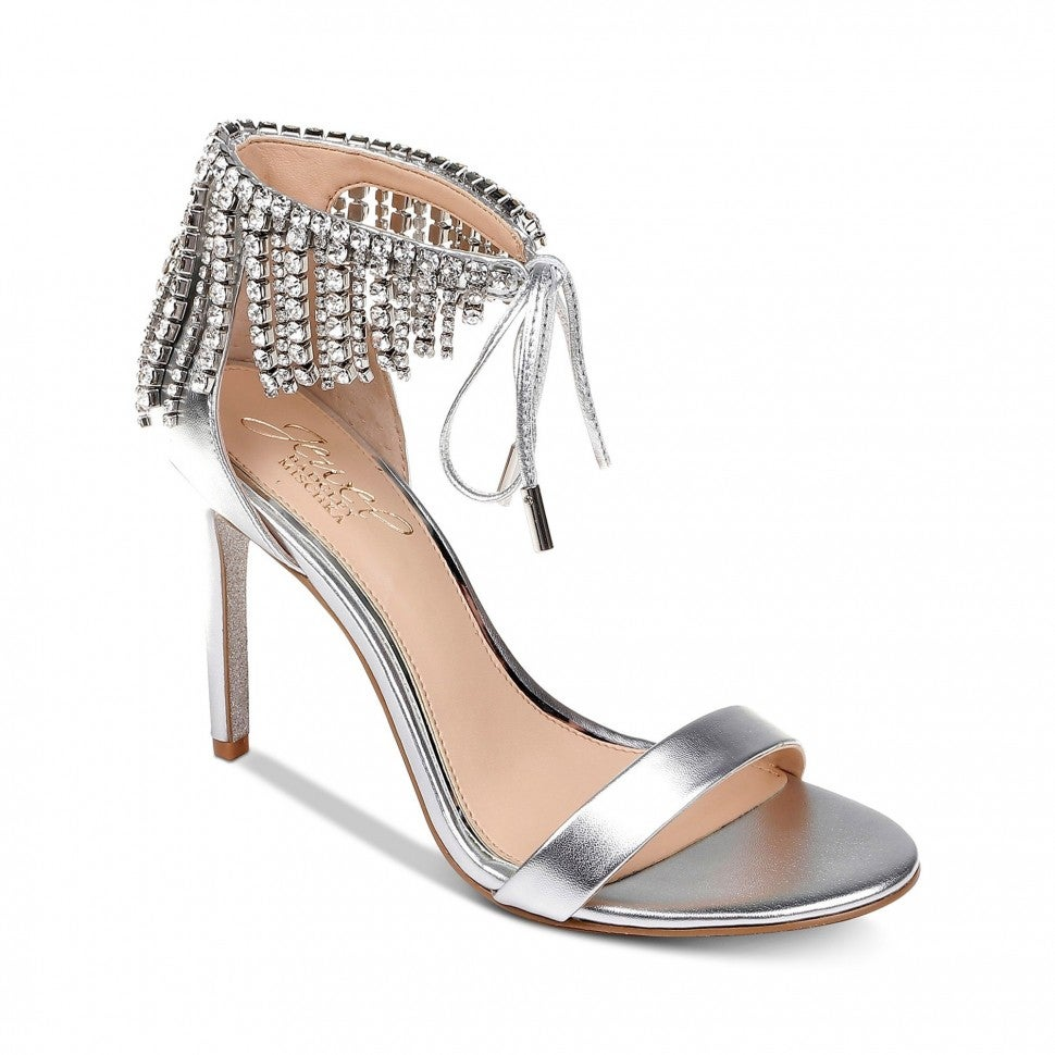 Badgley Mischka crystal fringe heels