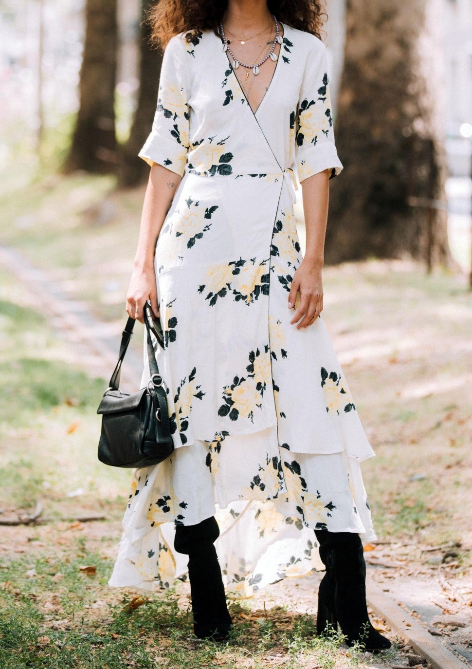 printed wrap dress street style