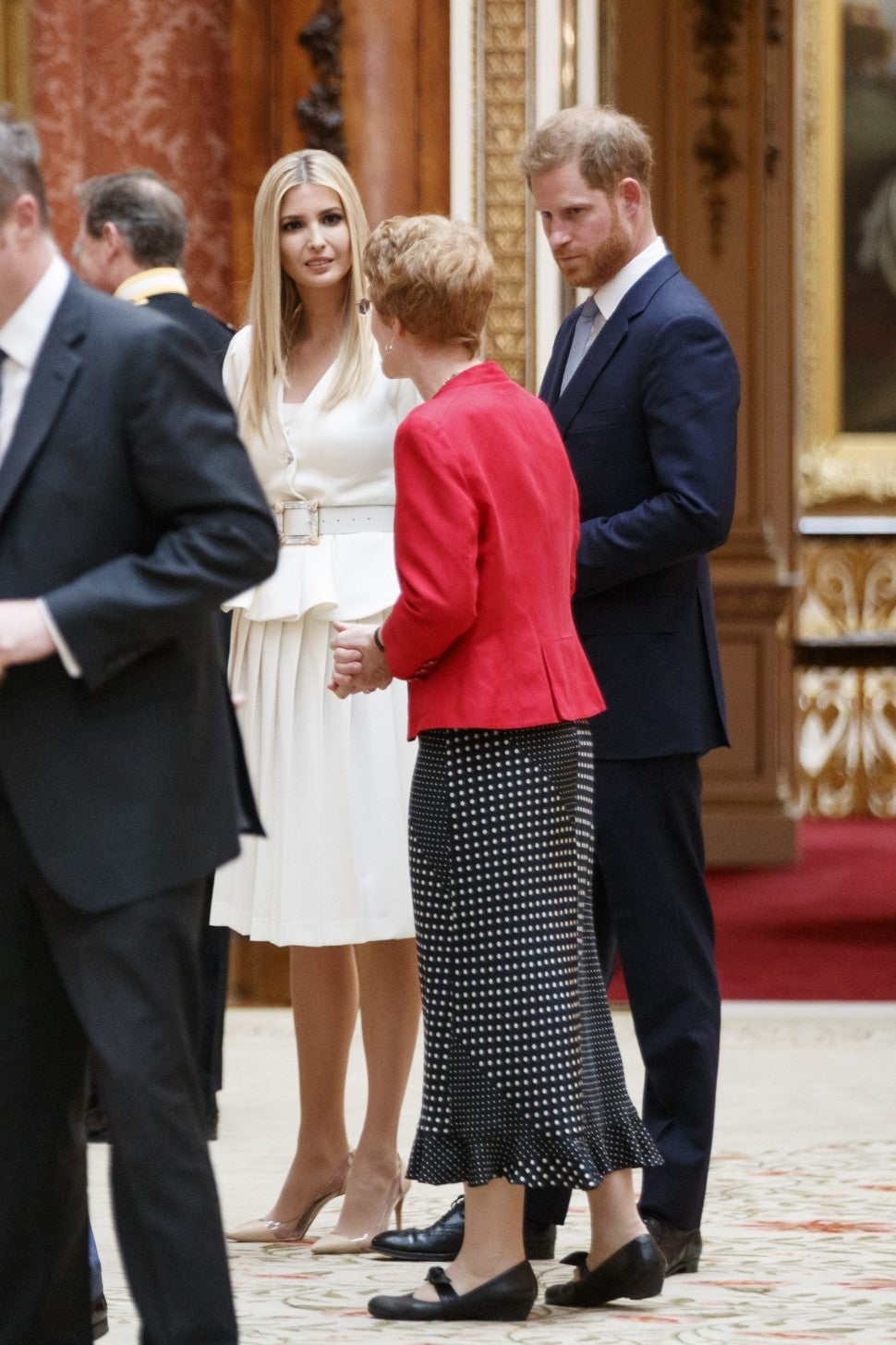 Ivanka Trump, daughter of US President Donald Trump, and Britain's Prince Harry, Duke of Sussex, view displays of US items of the Royal Collection at Buckingham Palace in central London on June 3, 2019