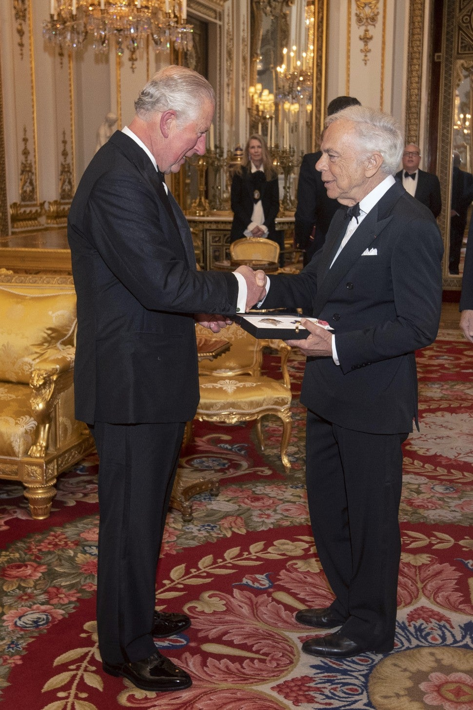 Ralph Lauren at knighthood ceremony with Prince Charles