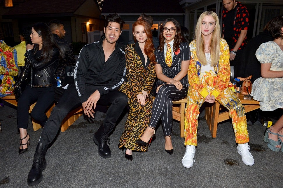 Ross Butler, Madelaine Petsch, Camila Mendes, and Kathryn Newton at Moschino show