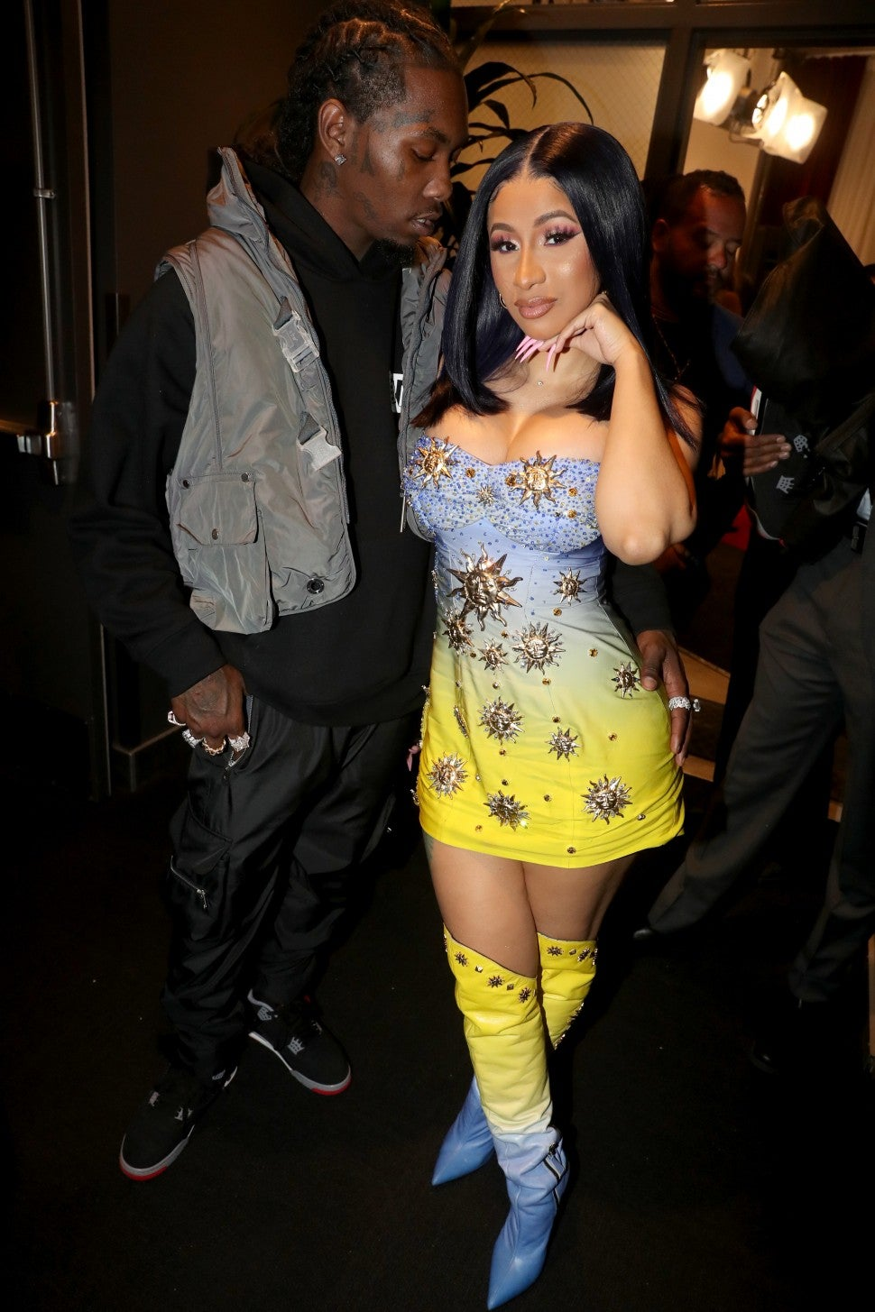 Cardi B and Offset backstage at 2019 BET Awards