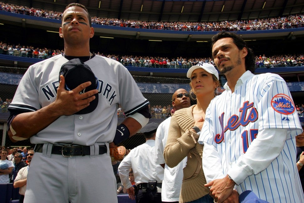Alex Rodriguez, Jennifer Lopez and Marc Anthony