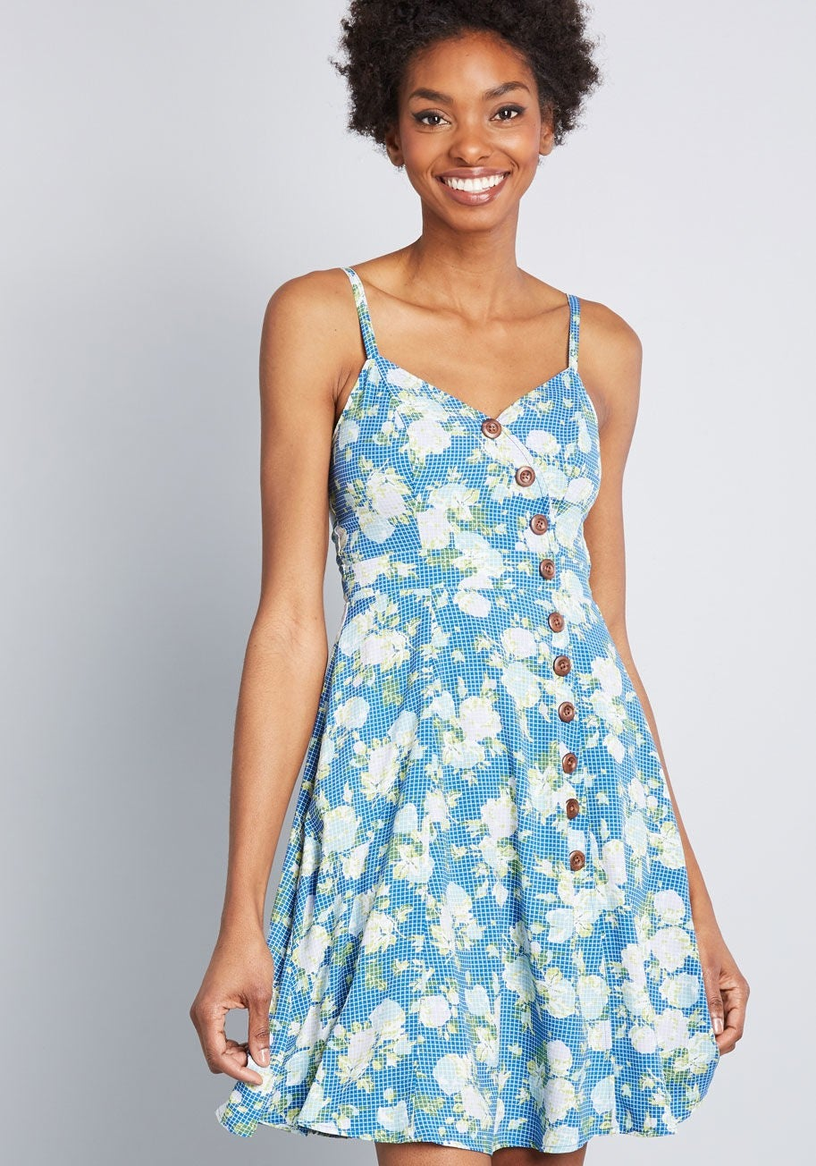 Modcloth printed blue floral dress
