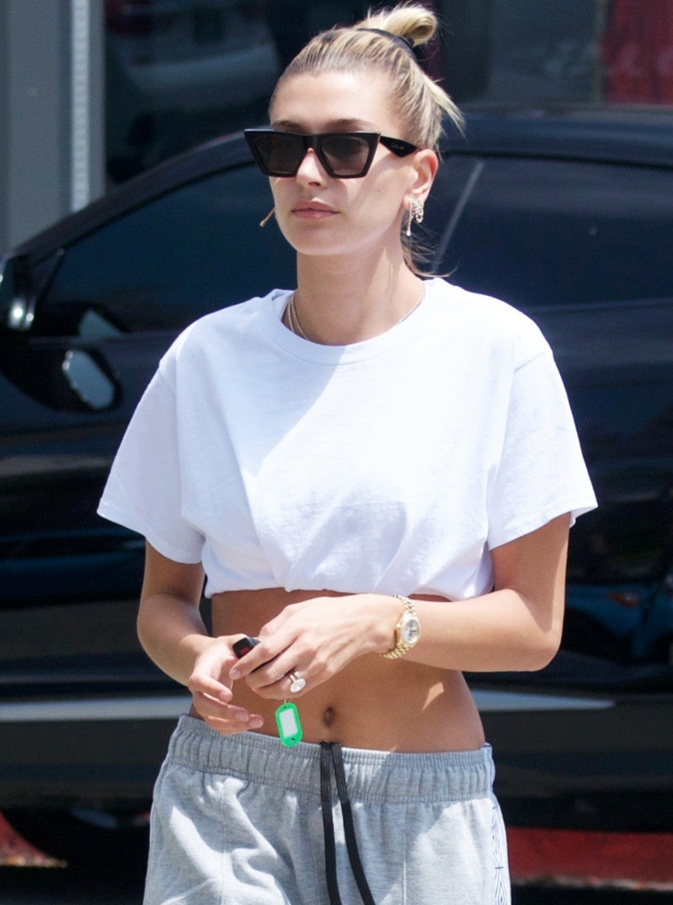 Hailey Bieber leaves her workout session in Beverly Hills