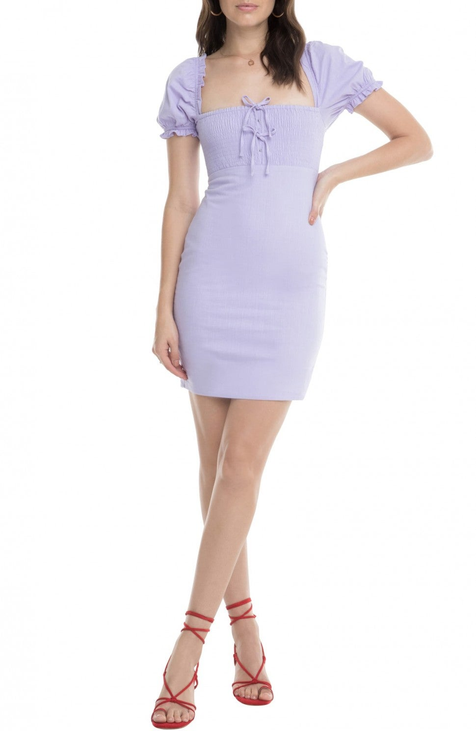 ASTR the Label puff sleeve lilac minidress
