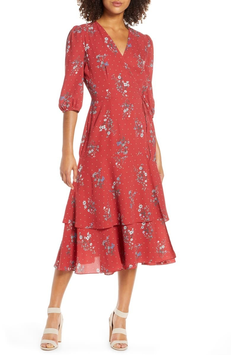 Chelsea28 Floral & Dot Print Wrap Dress
