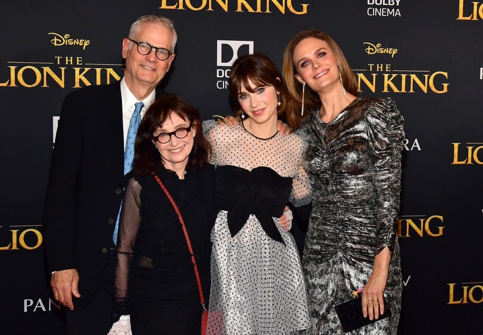 Zooey and Emily Deschanel  Parents Lion King Premiere