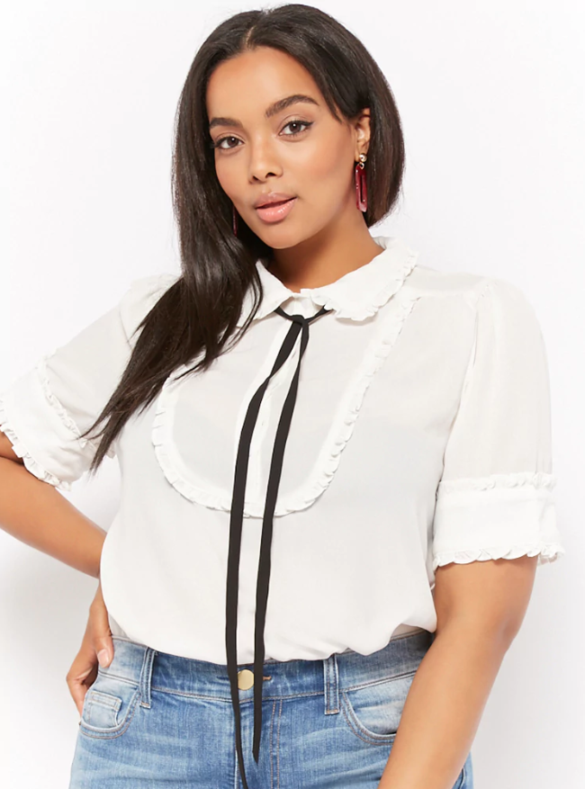 Forever 21 Plus Size Bow Ruffle-Trim Shirt