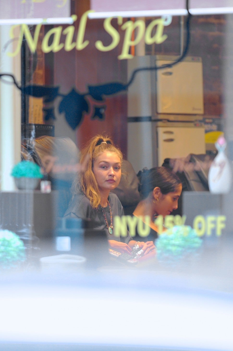 gigi Hadid at nail salon in nyc