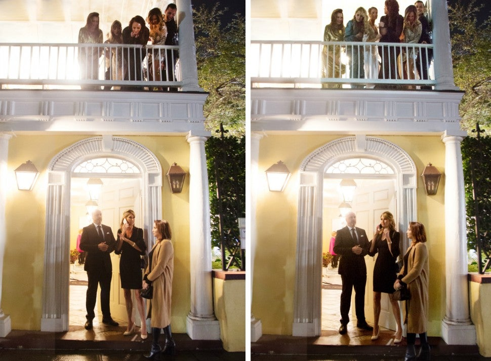 The cast of 'Southern Charm' watches as Ashley Jacobs is thrown out of Patricia Altschul's finale party.