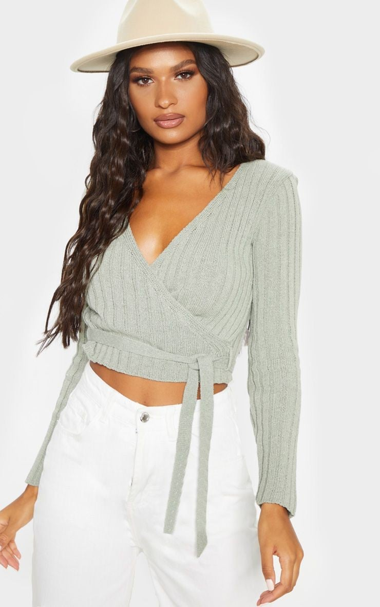 PrettyLittleThing Sage Ribbed Knit Wrap Top