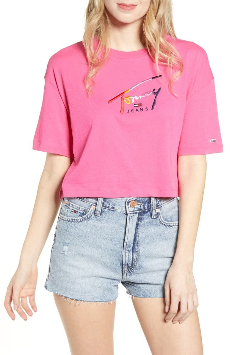 Tommy Jeans script crop tee and denim cutoff shorts