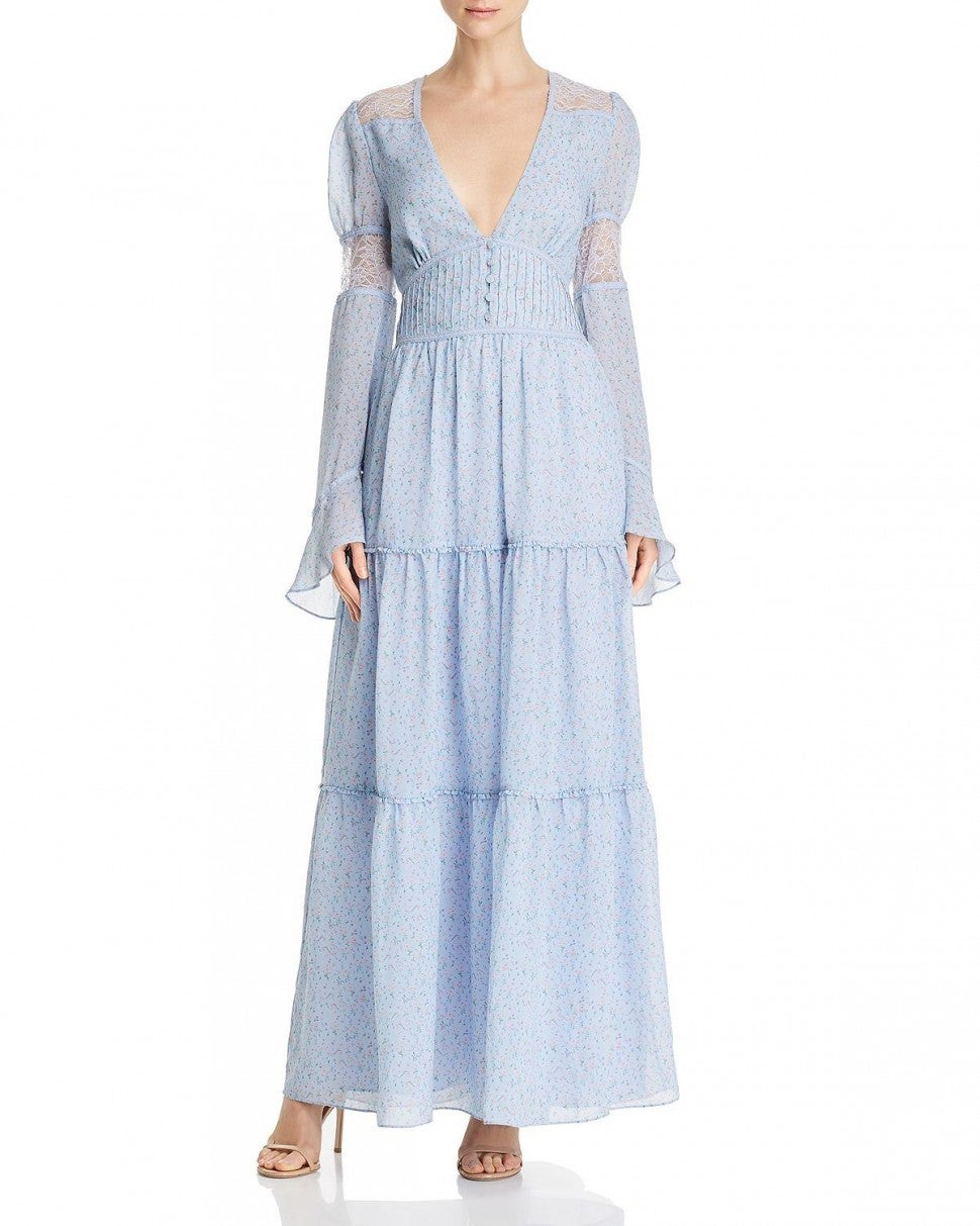 Divine Heritage Lace-Inset Maxi Dress