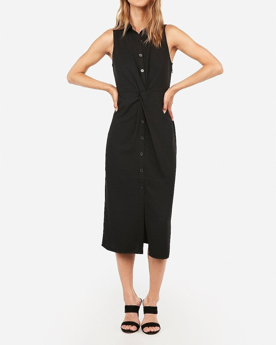 Express Style Trial Button Front Twist Midi Shirt Dress