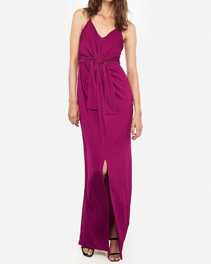 Express Style Trial Knot Front Racerback Maxi Dress