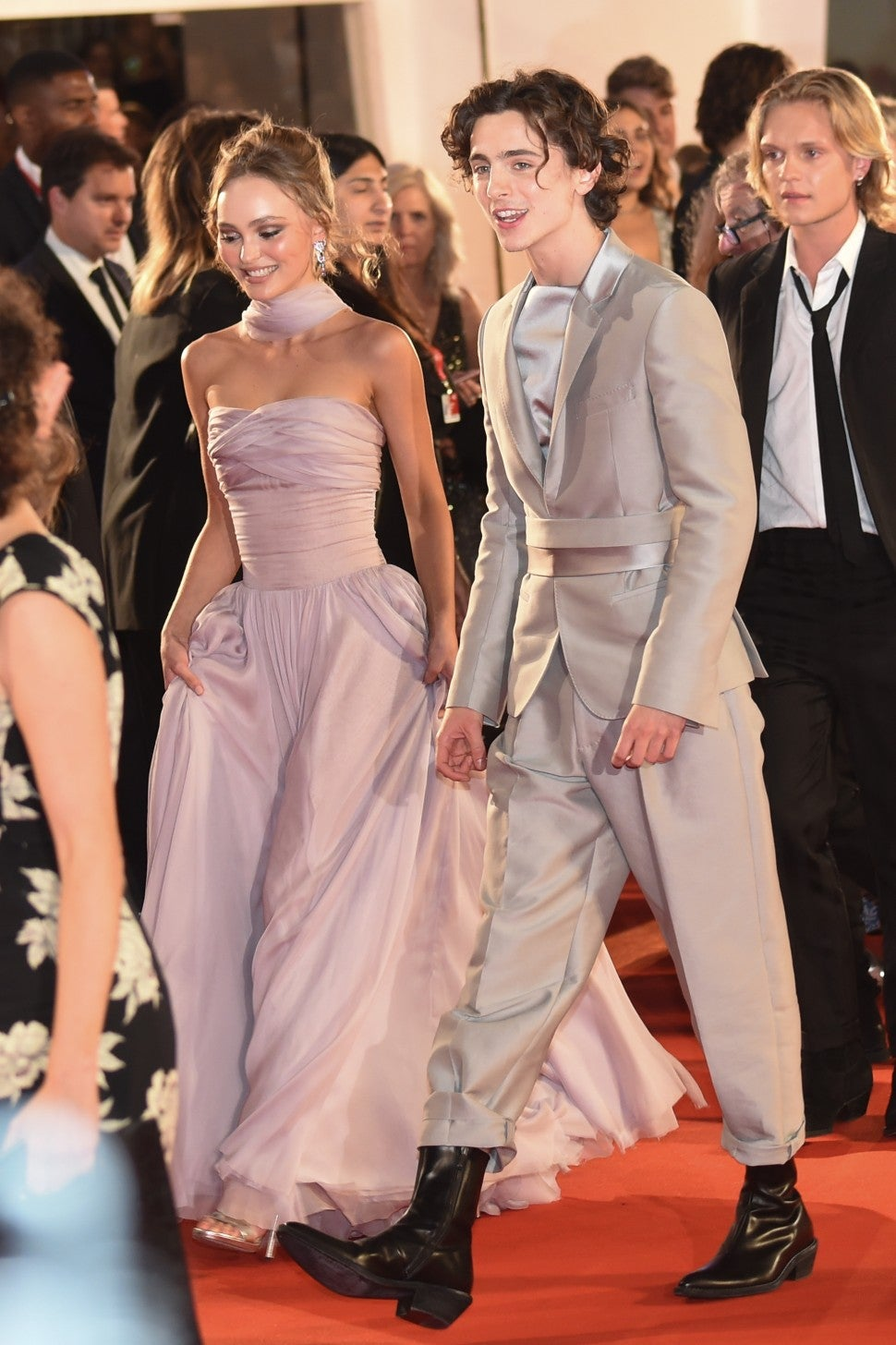 Lily-Rose Depp and Timothee Chalamet at Venice Film Festival The King screening