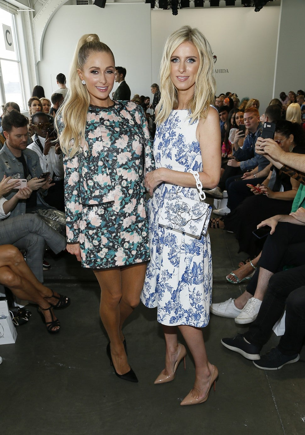 Paris and Nicky Hilton at Kyle Richards NYFW Show