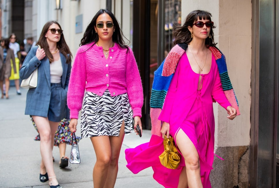 pink outfits street style NYFW