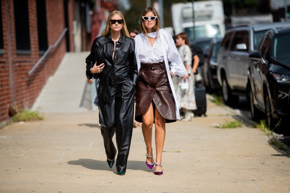 leather outfits NYFW street style
