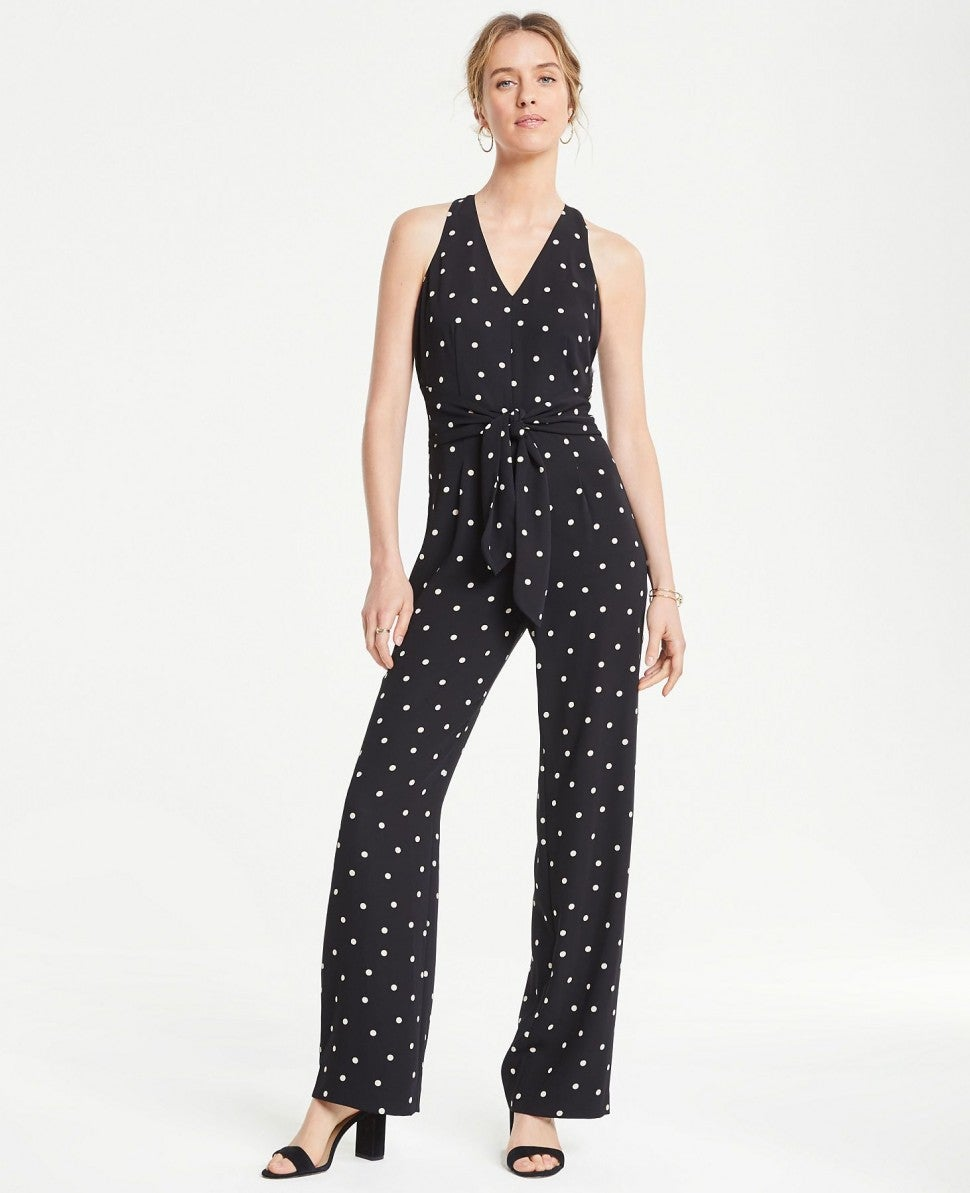 Infinite Style by Ann Taylor Polka Dot Racerback Jumpsuit
