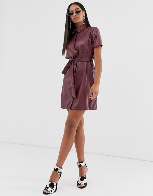 Missguided Leather Look Shirt Dress