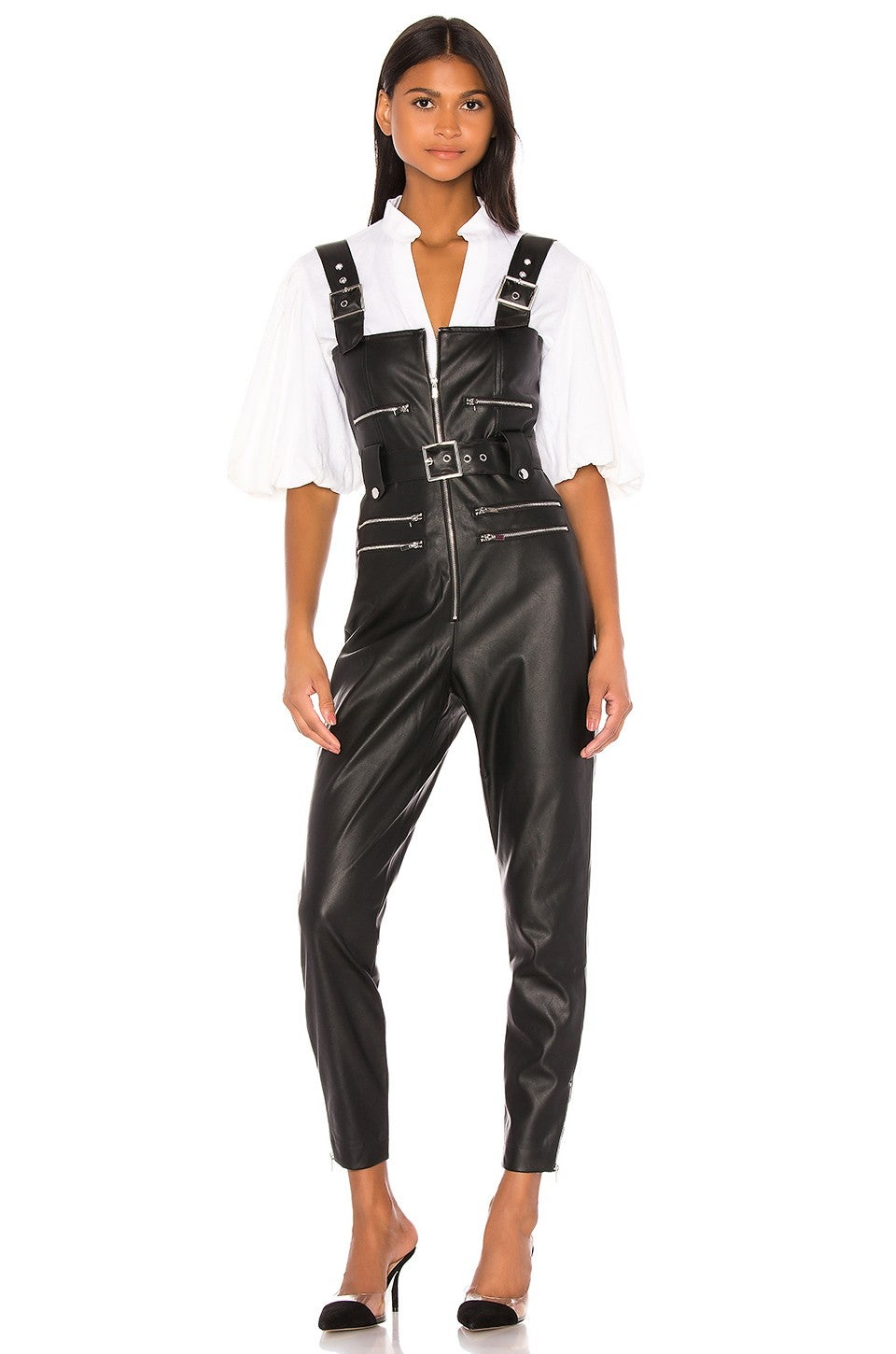 We Wore What Moto Vegan Leather Overalls