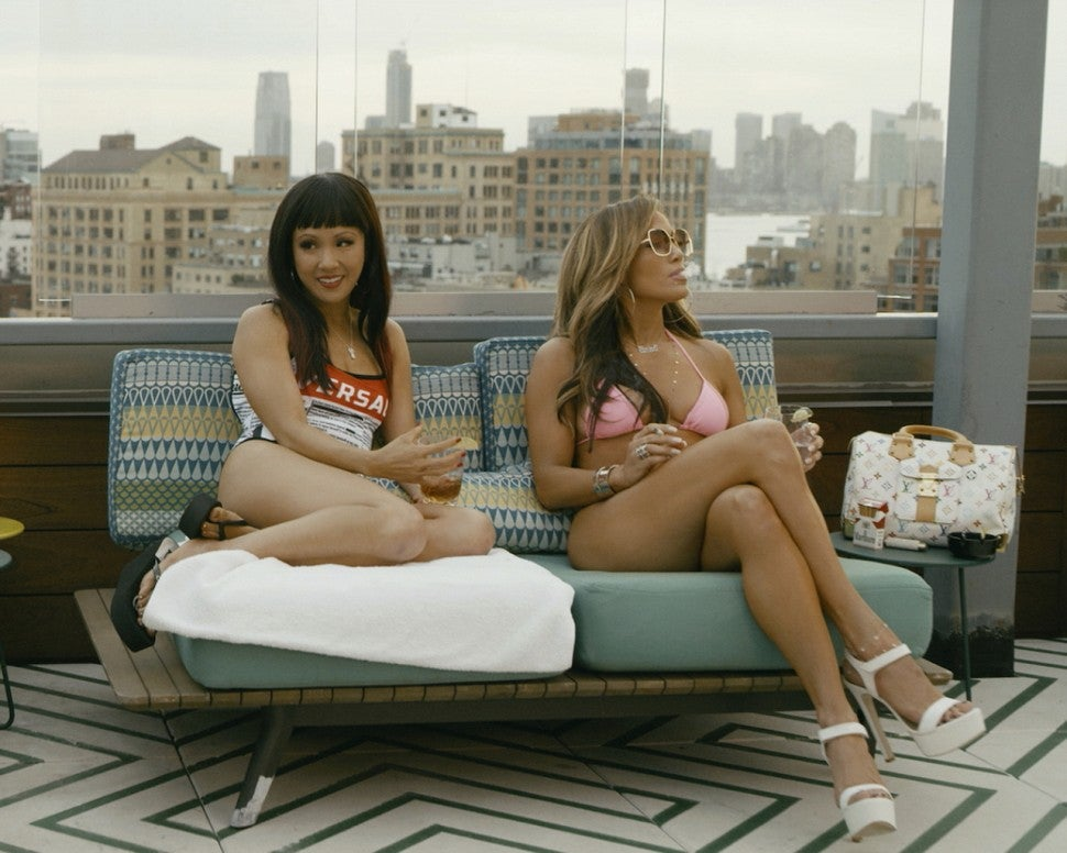 Constance Wu and Jennifer Lopez in Hustlers