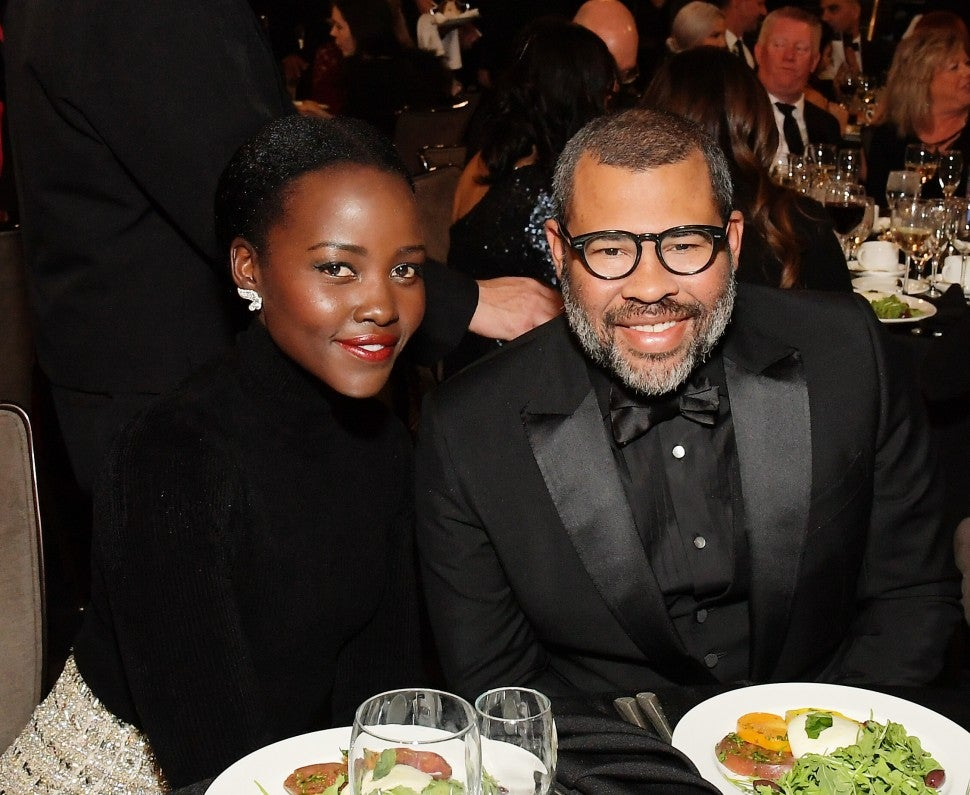 Lupita Nyong'o and Jordan Peele at the 2019 British Academy Britannia Awards