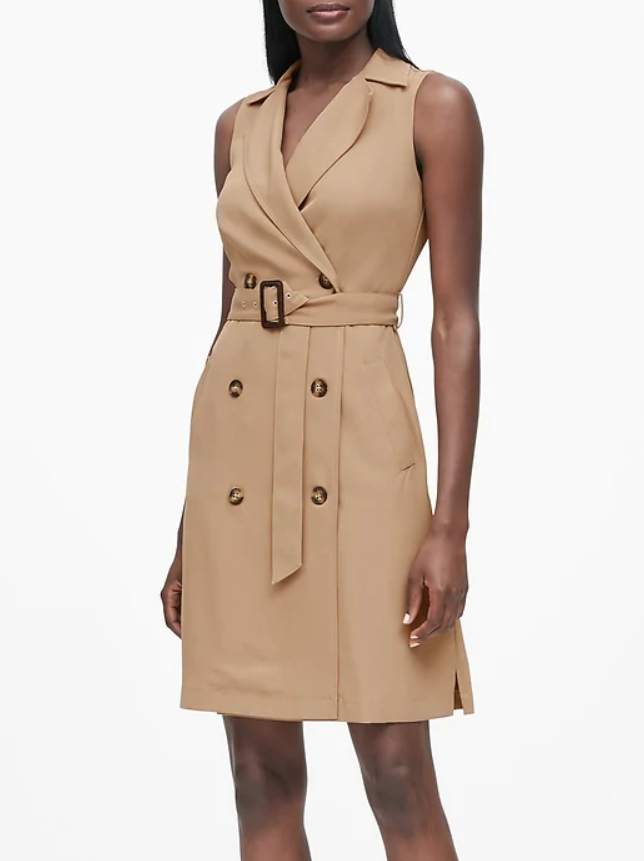 Banana Republic Double-Breasted Trench Dress in Khaki