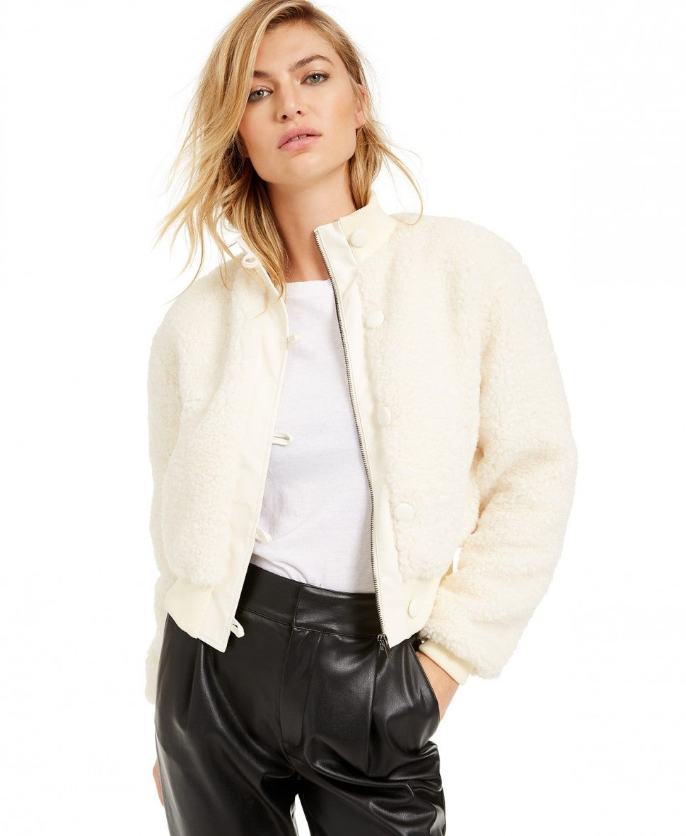 Becca Tilley x Bar III Cropped Faux-Fur Bomber