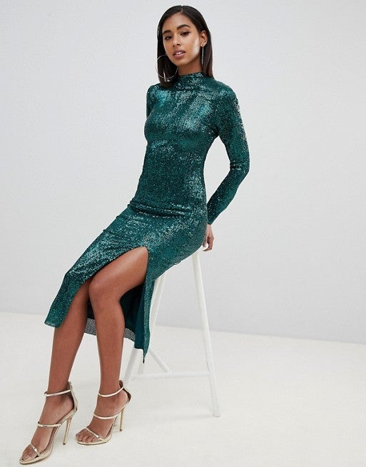 Club L High Neck All Over Sequin Midi Dress