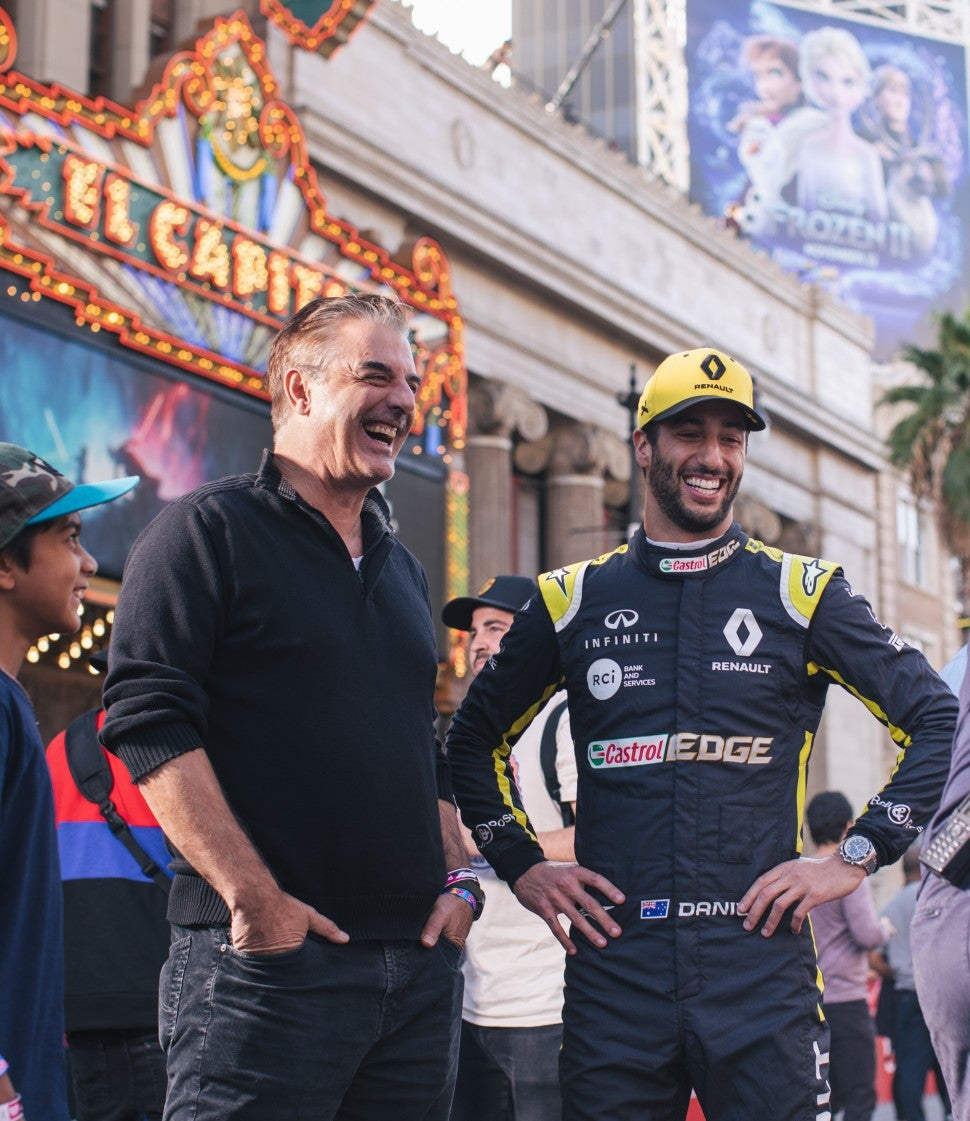 Chris Noth in the pit at Formula 1's LA Fan Fest