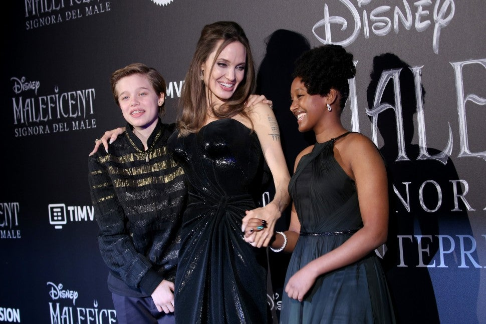 Angelina Jolie with daughters Shiloh and Zahara