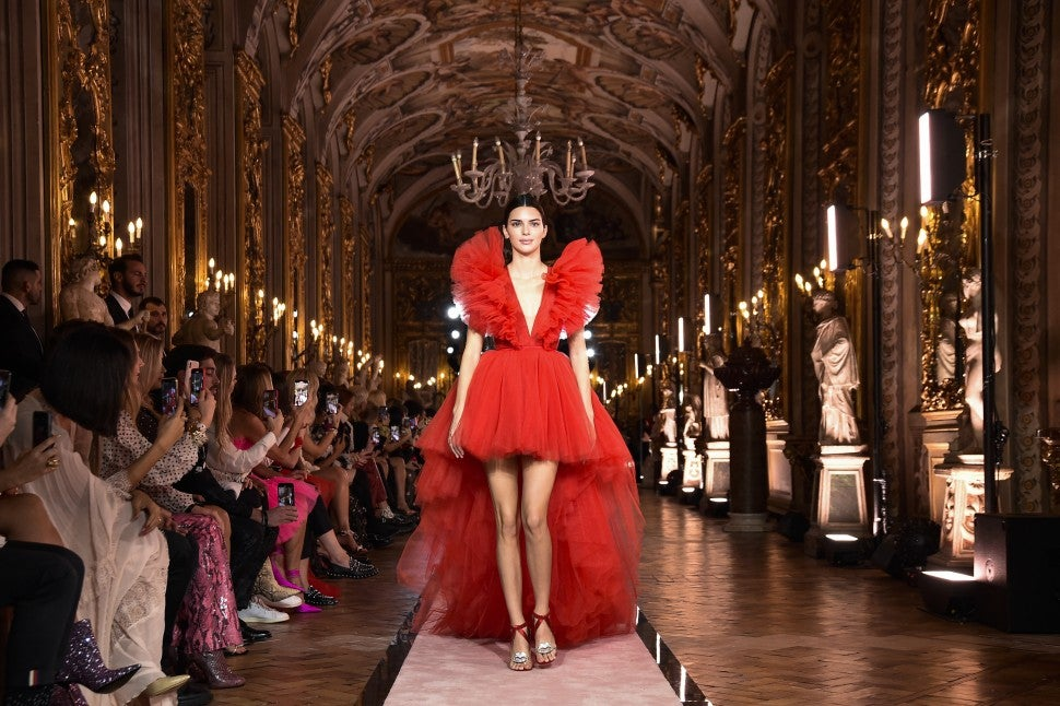 Kendall Jenner walks the runway during the Giambattista Valli Loves H&M show on October 24 in Rome